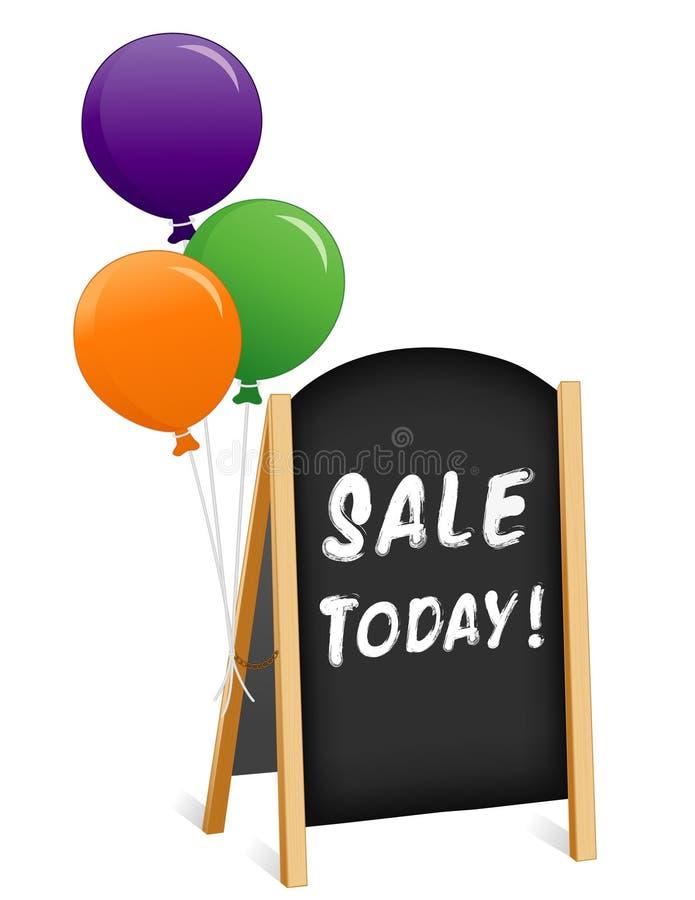 Firmi oggi, vendita, cavalletto piegante del bordo di gesso illustrazione di stock