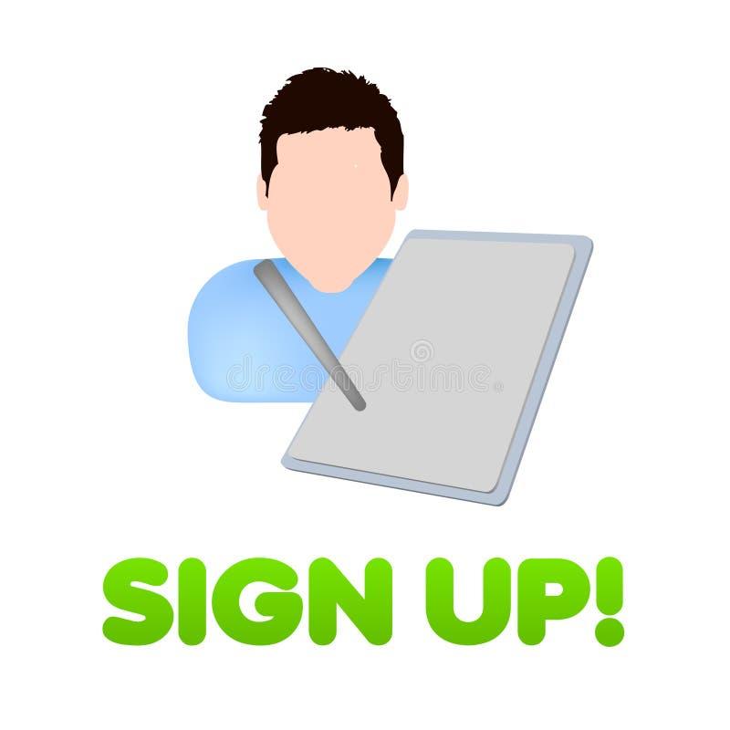 Firmi in su il disegno dell'icona del registro