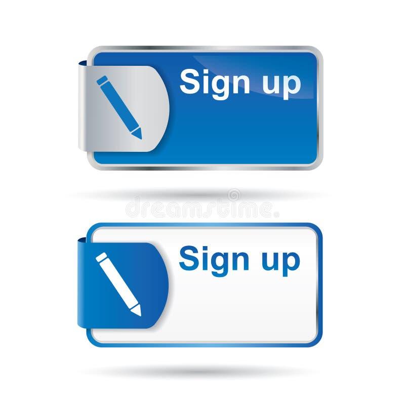 Firmi in su il tasto o l'icona con il disegno riflettente web2 illustrazione vettoriale