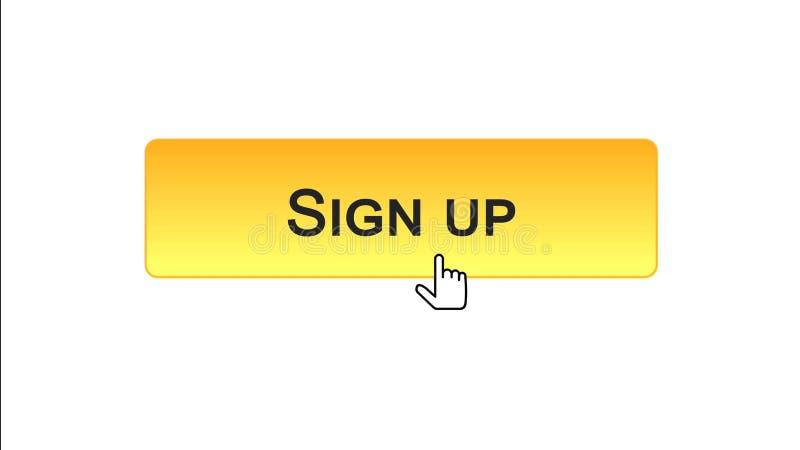 Firmi sul bottone dell'interfaccia di web cliccato con il cursore del topo, colore arancio, online illustrazione vettoriale
