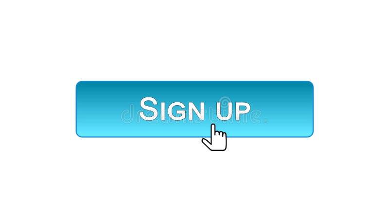 Firmi sul bottone dell'interfaccia di web cliccato con il cursore del topo, colore blu, online illustrazione di stock