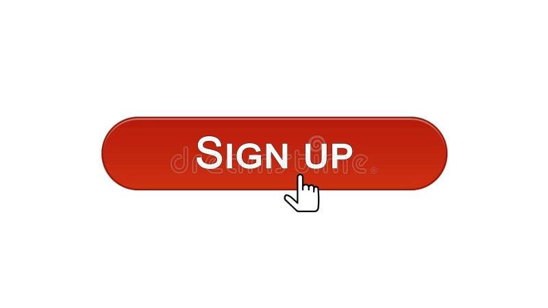 Firmi sul bottone dell'interfaccia di web cliccato con il cursore del topo, colore rosso del vino, online illustrazione vettoriale