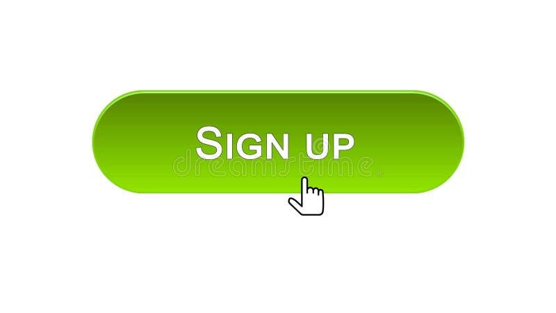 Firmi sul bottone dell'interfaccia di web cliccato con il cursore del topo, colore verde, online royalty illustrazione gratis