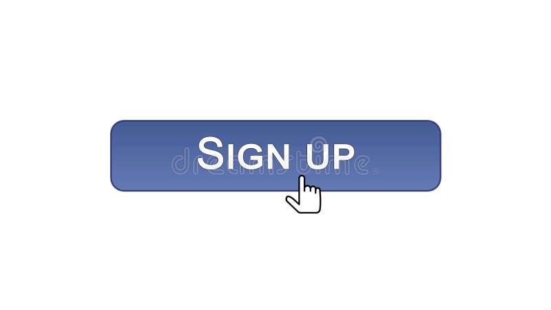 Firmi sul bottone dell'interfaccia di web cliccato con il cursore del topo, colore viola, online royalty illustrazione gratis