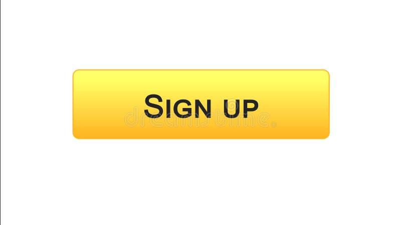Firmi sul colore arancio del bottone dell'interfaccia di web, l'autorizzazione di programma, parola d'ordine illustrazione vettoriale