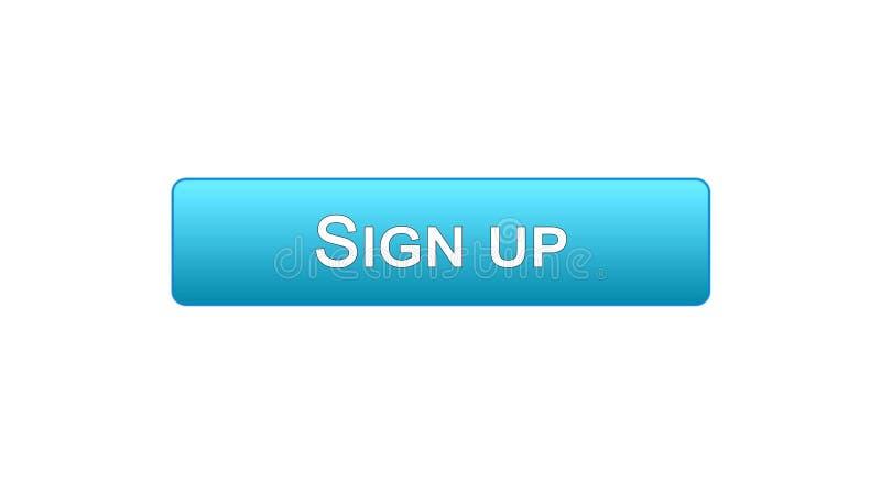 Firmi sul colore blu del bottone dell'interfaccia di web, l'autorizzazione di programma, parola d'ordine illustrazione di stock