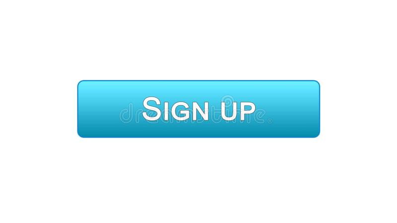 Firmi sul colore blu del bottone dell'interfaccia di web, l'autorizzazione di programma, parola d'ordine royalty illustrazione gratis