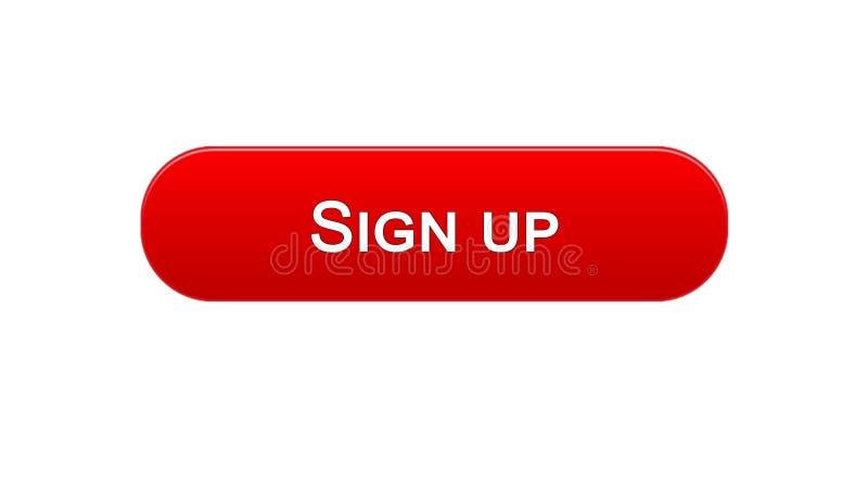 Firmi sul colore rosso del bottone dell'interfaccia di web, l'autorizzazione di programma, parola d'ordine royalty illustrazione gratis