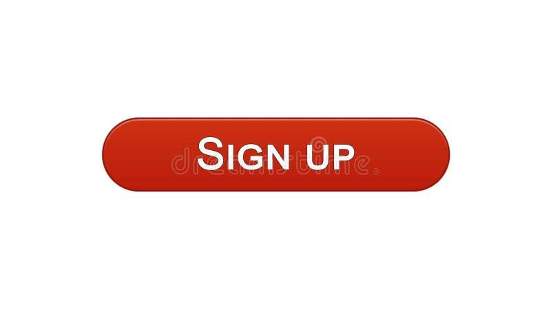 Firmi sul colore rosso del vino del bottone dell'interfaccia di web, l'autorizzazione di programma, parola d'ordine illustrazione di stock
