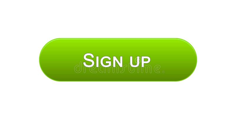 Firmi sul colore verde del bottone dell'interfaccia di web, l'autorizzazione di programma, parola d'ordine illustrazione vettoriale