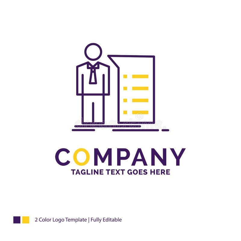Firmy imienia logo projekt Dla biznesu, wyjaśnienie, wykres, meeti ilustracji