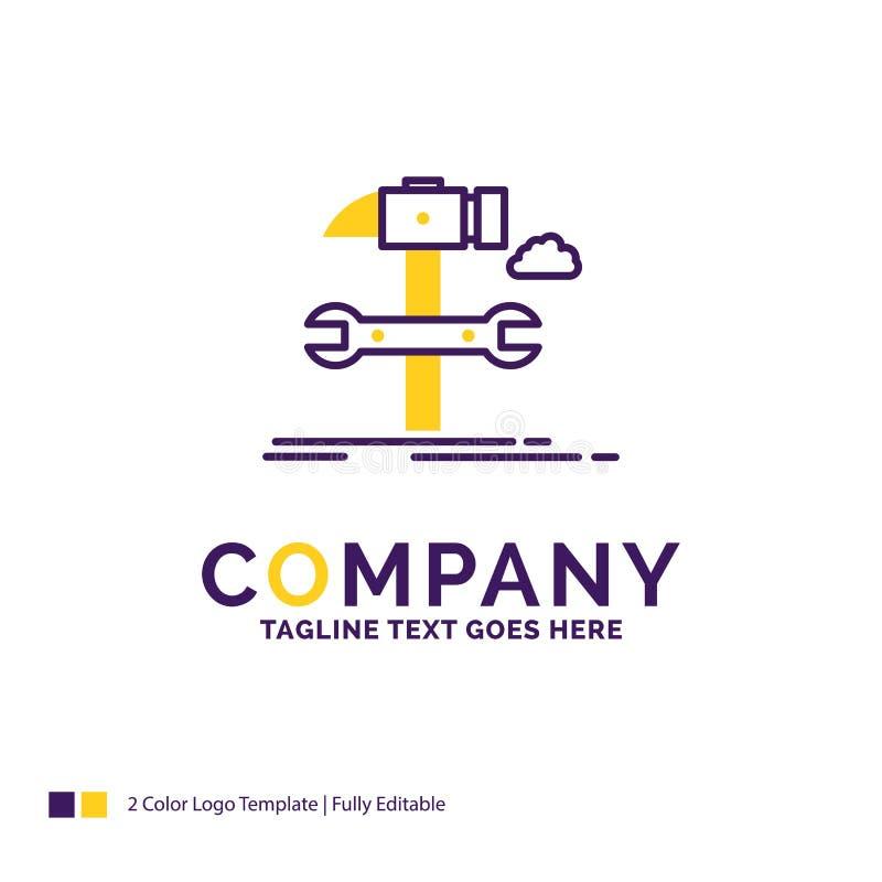 Firmy imienia logo projekt Dla budowy, inżynieria, młot, naprawa ilustracja wektor