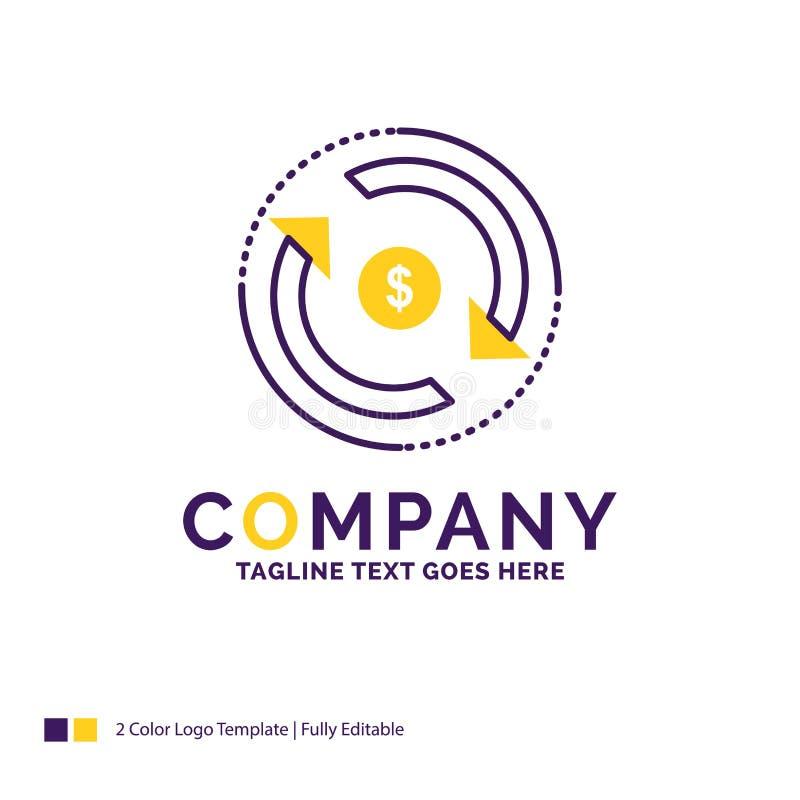Firmy imienia logo projekt Dla cyrkulacji, finanse, przepływ, rynek royalty ilustracja