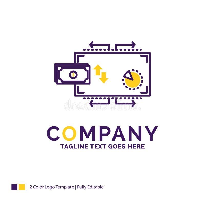 Firmy imienia logo projekt Dla finanse, przepływ, marketing, pieniądze, pa royalty ilustracja