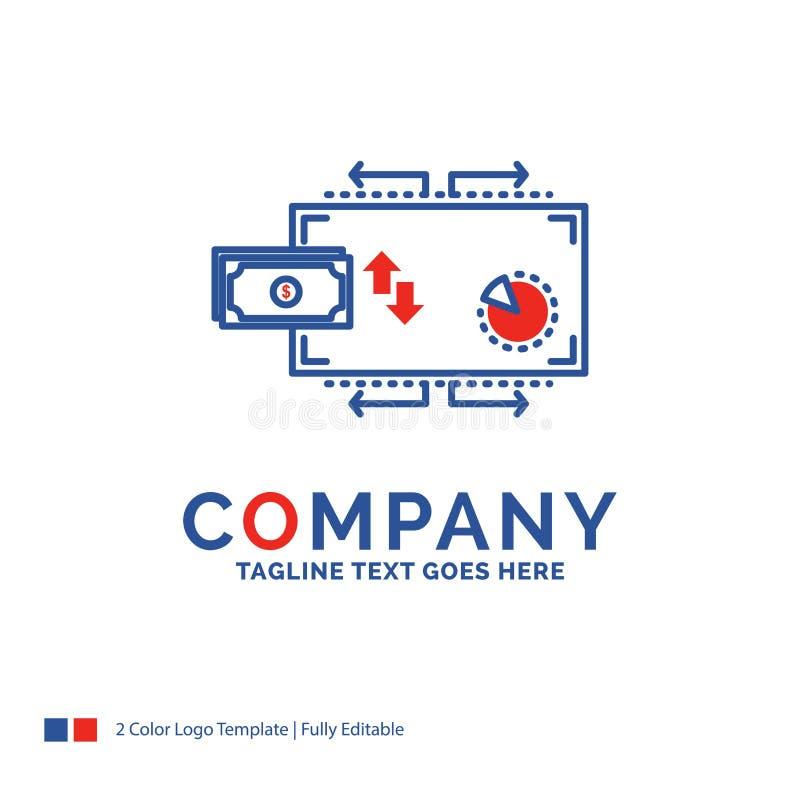 Firmy imienia logo projekt Dla finanse, przepływ, marketing, pieniądze, pa ilustracja wektor