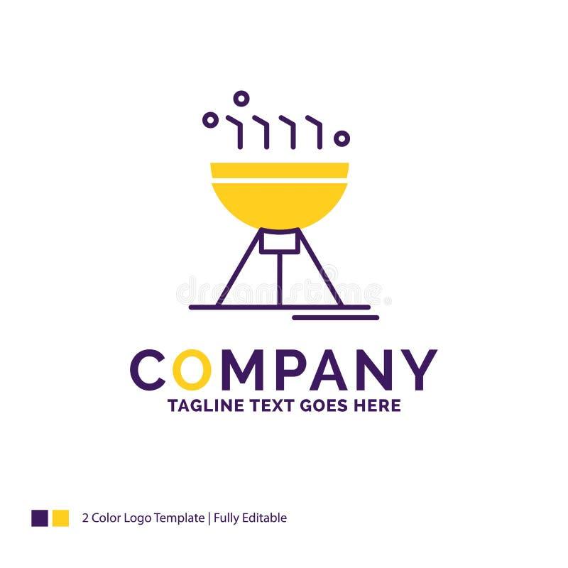 Firmy imienia logo projekt Dla Gotować bbq, camping, jedzenie, grill royalty ilustracja