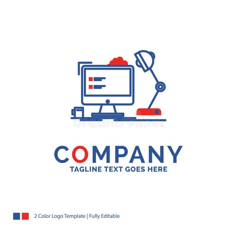 Firmy imienia logo projekt Dla miejsce pracy, stacja robocza, biuro, zwianie ilustracja wektor