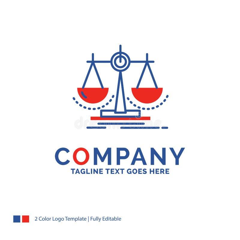 Firmy imienia logo projekt Dla równowagi, decyzja, sprawiedliwość, prawo, sc ilustracja wektor