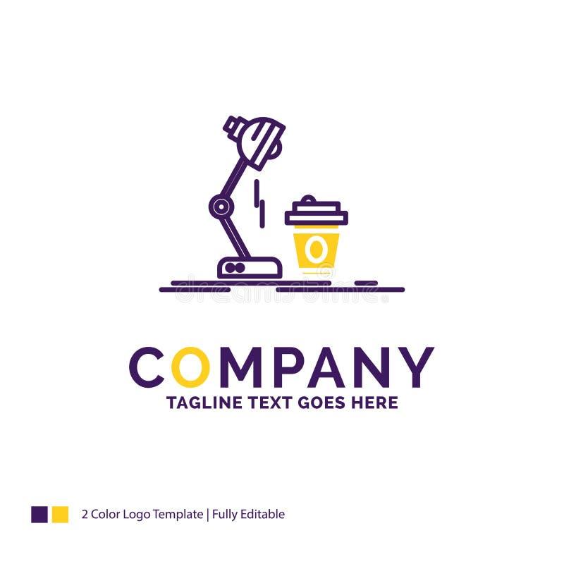 Firmy imienia logo projekt Dla studia, projekt, kawa, lampa, błysk ilustracja wektor