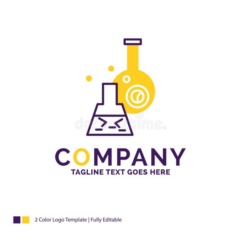 Firmy imienia logo projekt Dla zlewki, lab, test, tubka, naukowa royalty ilustracja