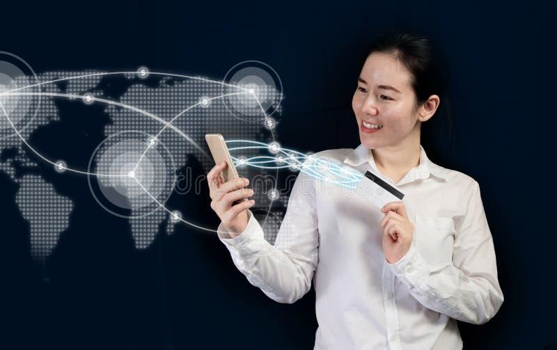 Firmy korzystajÄ…ce z przekazu pieniężnego za pomocÄ… aplikacji mobilnej, bankowość internetowa jako koncepcja zdjęcie royalty free