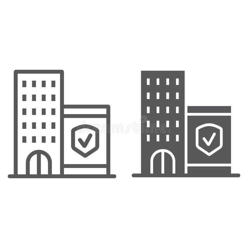 Firmy ubezpieczenia linia, glif ikona, ochrona i budynek, biznesowy zbawczy znak, wektorowe grafika, liniowy wzór ilustracji