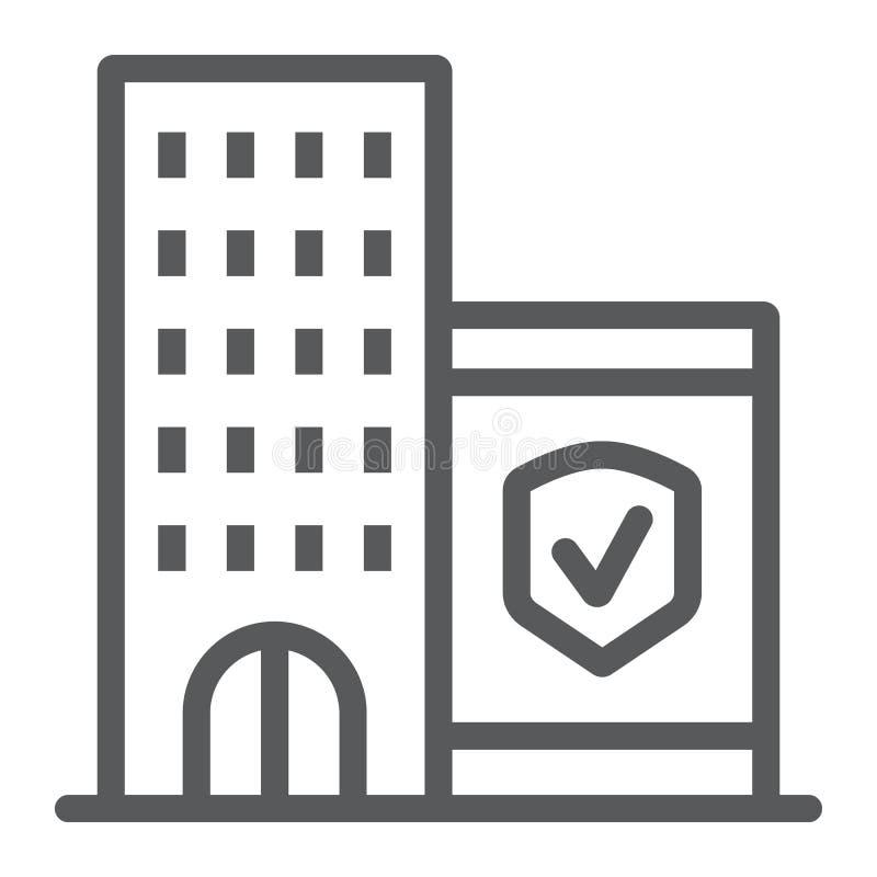 Firmy ubezpieczenia linii ikona, ochrona i budynek, biznesowy zbawczy znak, wektorowe grafika, liniowy wzór na bielu