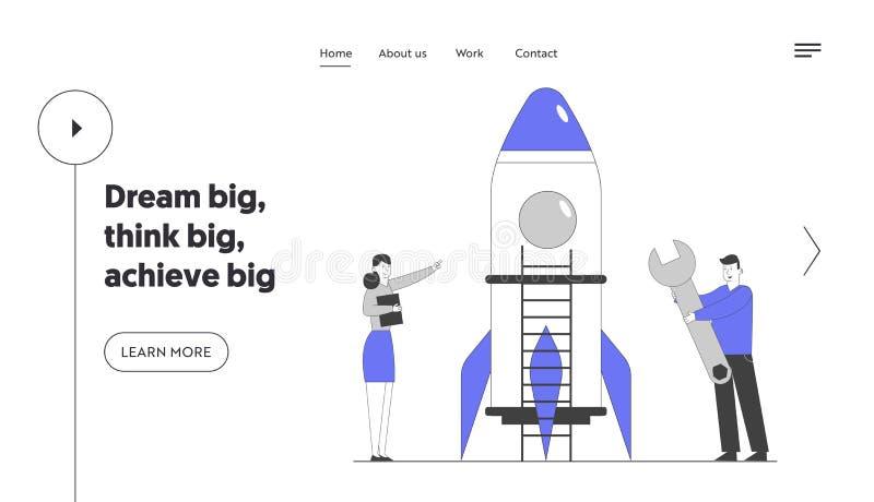Firmy uruchamiające stronę docelową startowej witryny sieci Web programu Business Project Pomyślny pomysł finansowy Zespół twórcz ilustracja wektor