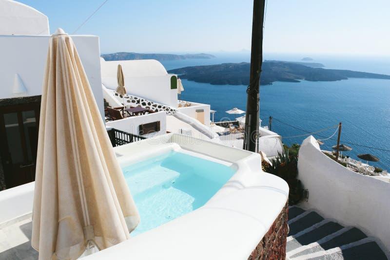 Firostefani miasteczko w Santorini wyspie, Grecja zdjęcia royalty free