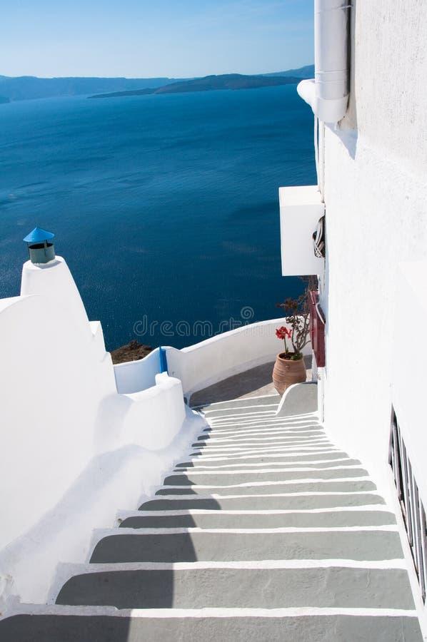 Firostefani in Santorini stock foto's