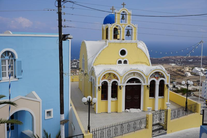 Firostefani - Santorini - Griekenland stock foto
