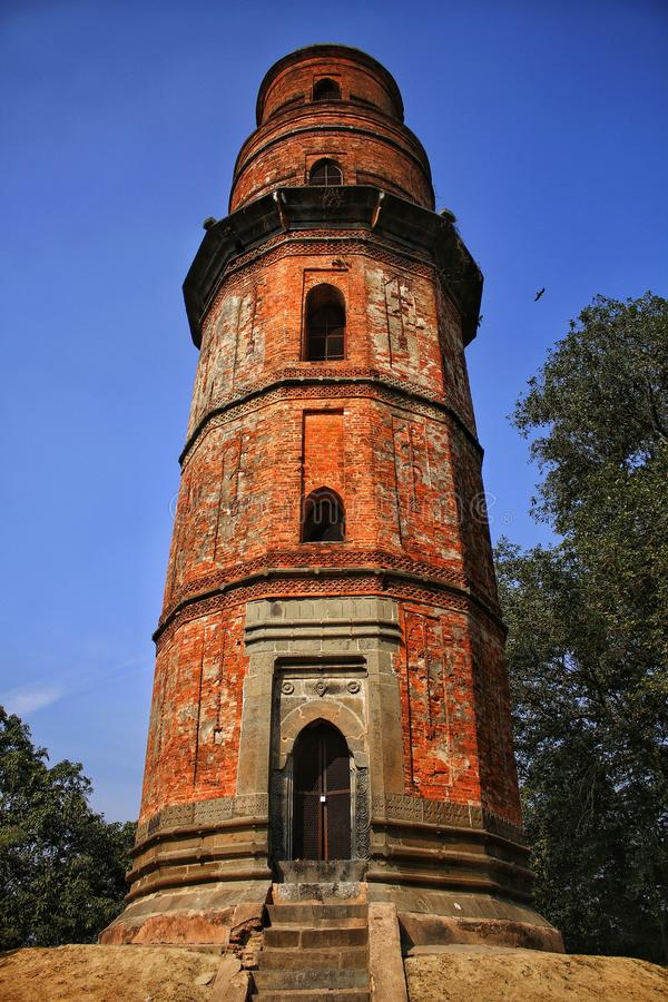 Firoz Minar. Gour, Malda, West Bengal, Capital of ancient india tower used for punisent royalty free stock photo