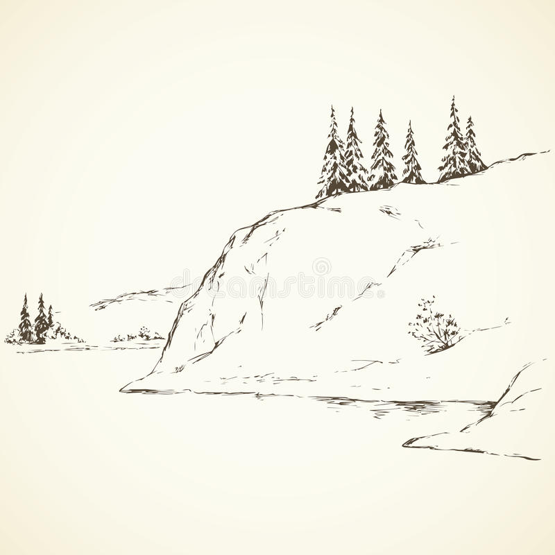 Download Firs On Hill Above River Vector Drawing Stock