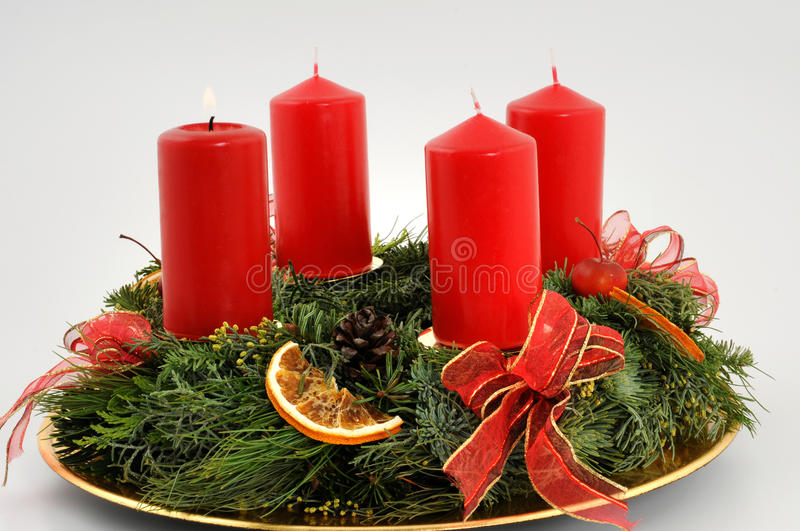 First advent. Advent wreath with red candles stock photo