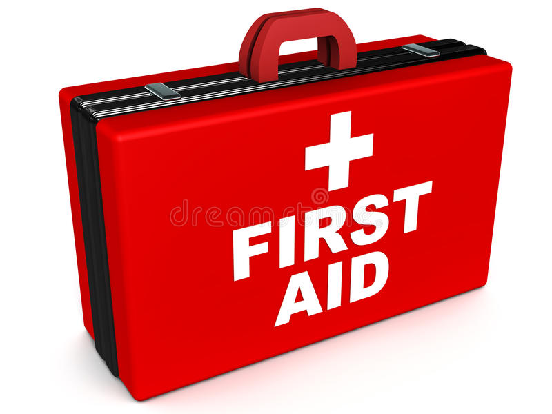 First aid. Box, medical attention and instant medical relief concept stock illustration