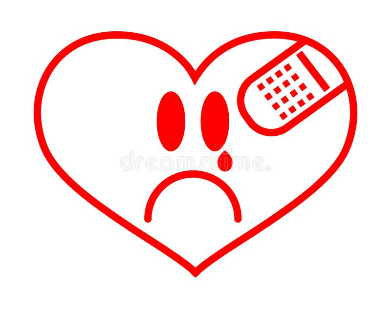 First Aid Band Cushioned Plaster Strip Medical Patch glued on red vector heart. Heart broken, Love and Valentines day concept vector illustration