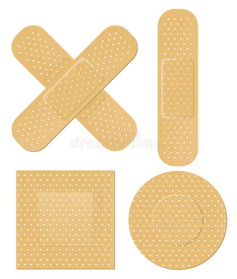 First aid bandages. Several shapes of adhesive first aid bandages royalty free illustration