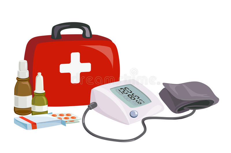 First aid, blood pressure device, medicines stock illustration