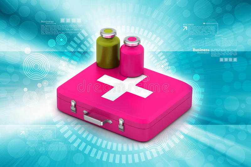 First aid box with medicine royalty free illustration