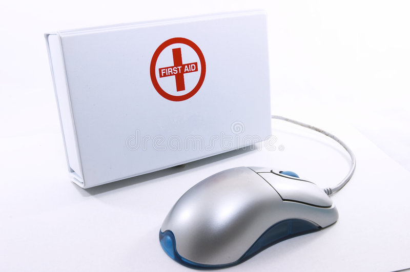 First Aid box standing up with mouse royalty free stock images