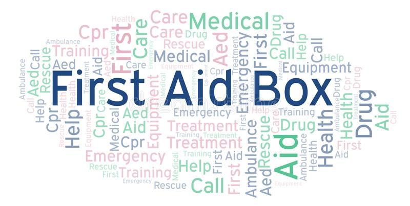 First Aid Box word cloud, made with text only. First Aid Box word cloud, made with text only stock illustration