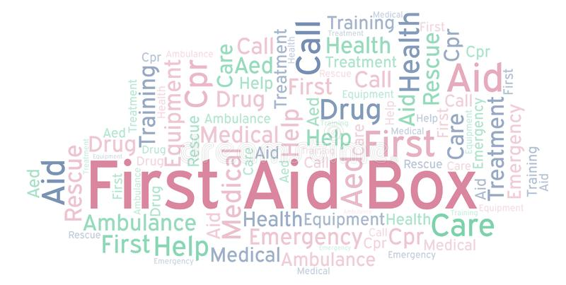 First Aid Box word cloud, made with text only. First Aid Box word cloud, made with text only royalty free illustration