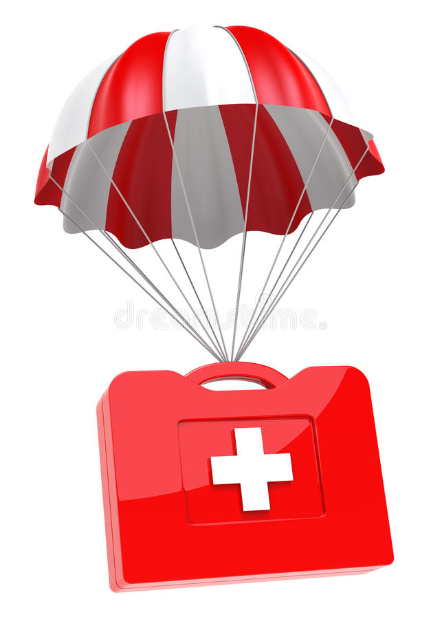 First Aid Case and Parachute stock illustration