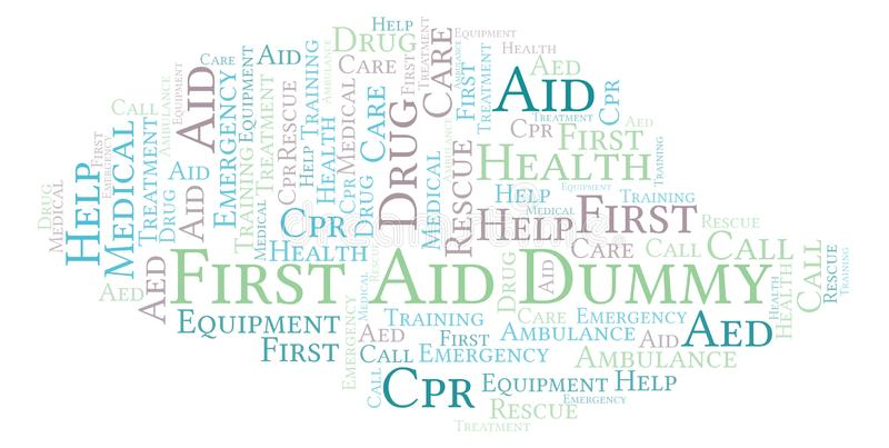 First Aid Dummy word cloud, made with text only. First Aid Dummy word cloud, made with text only vector illustration