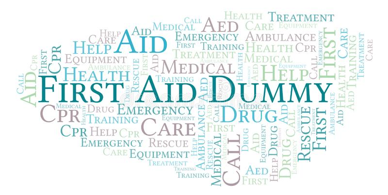 First Aid Dummy word cloud, made with text only. First Aid Dummy word cloud, made with text only stock illustration