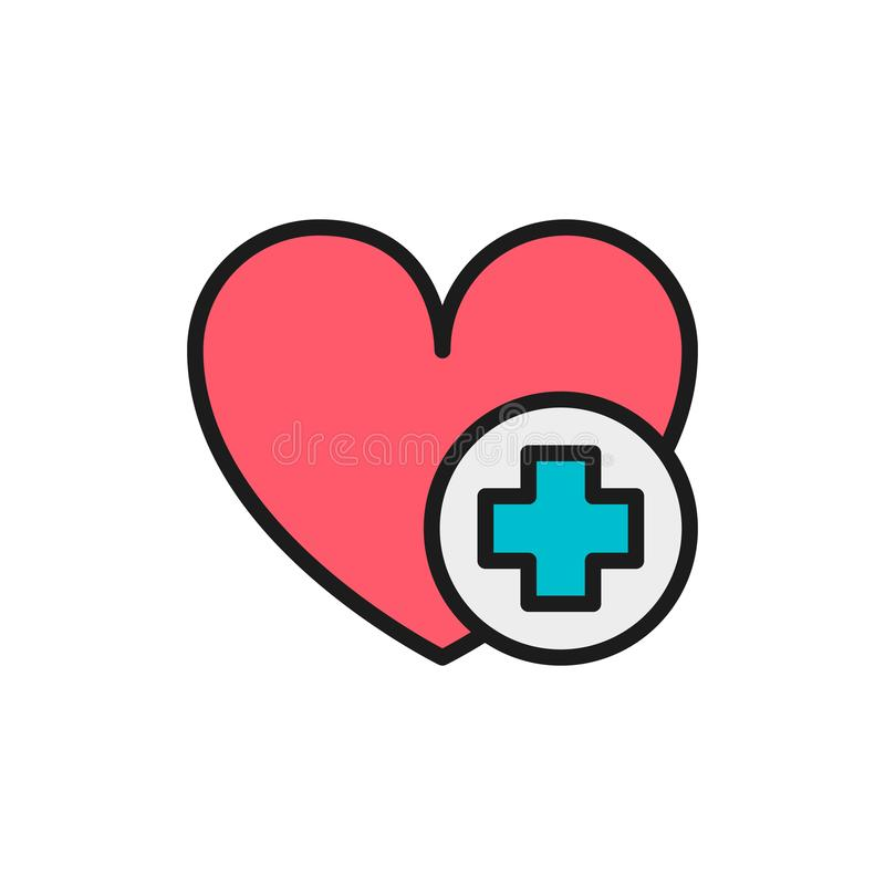 First aid for heart attack flat color line icon. vector illustration