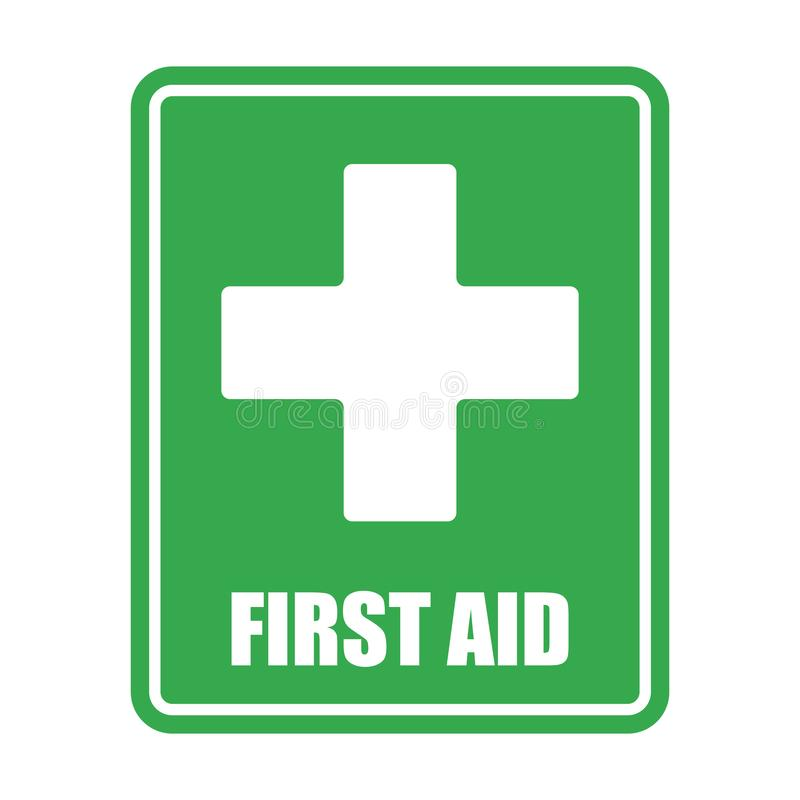First aid help vector eps10 on white background. First aid sign. Green square and white cross symbol stock illustration