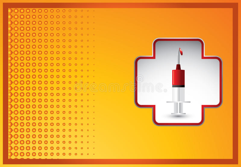 First aid icon with syringe on orange banner royalty free illustration