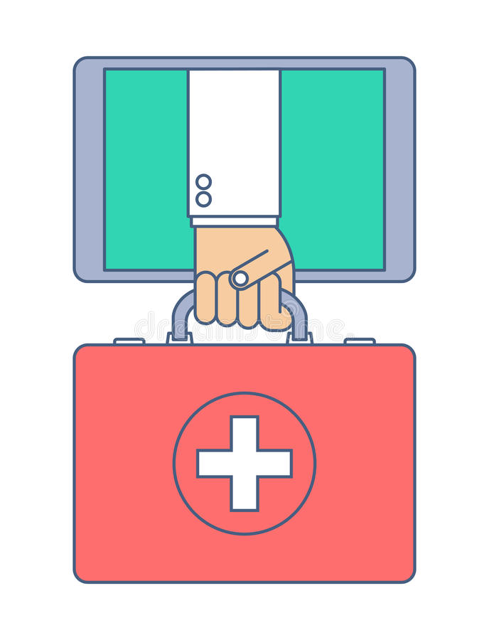 First aid by internet. Telemedicine and telehealth. First aid by internet. Telemedicine and telehealth flat line concept illustration. Doctor from tablet vector illustration