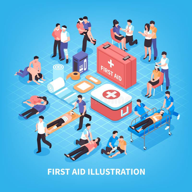 First Aid Isometric Composition stock illustration